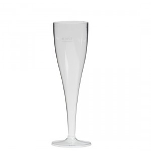 Champagneglas op voet 10 stuks plastiek